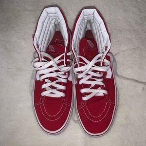 Red Hi Top Vans Sneakers Size 8